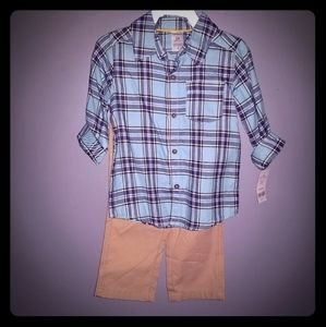 Carter's Khaki and Plaid Outfit